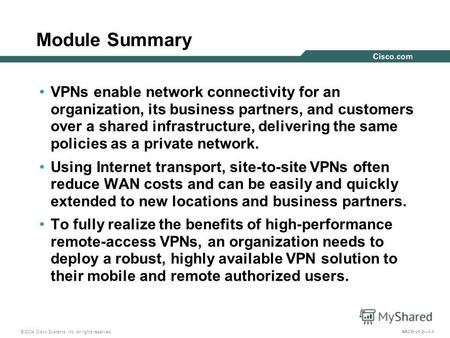 © 2004 Cisco Systems, Inc. All rights reserved. ARCH v1.21-1 Module Summary VPNs enable network connectivity for an organization, its business partners,