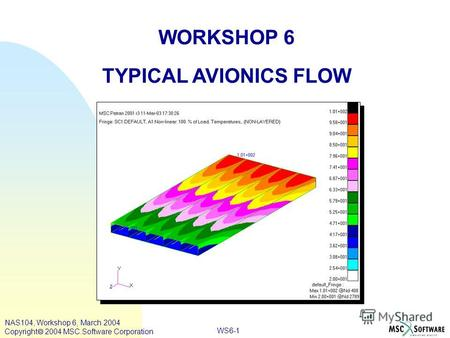 WS6-1 WORKSHOP 6 TYPICAL AVIONICS FLOW NAS104, Workshop 6, March 2004 Copyright 2004 MSC.Software Corporation.