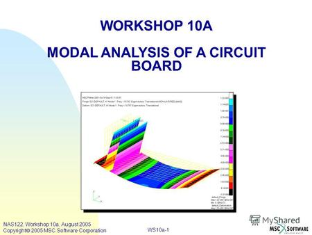 WS10a-1 WORKSHOP 10A MODAL ANALYSIS OF A CIRCUIT BOARD NAS122, Workshop 10a, August 2005 Copyright 2005 MSC.Software Corporation.