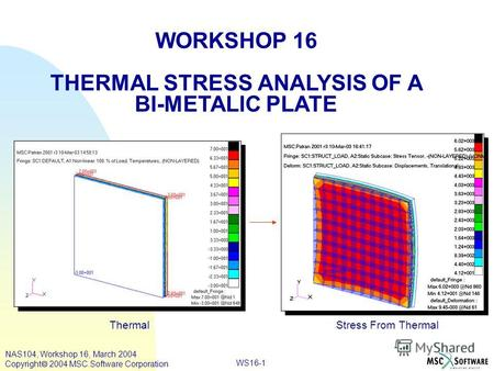 WS16-1 WORKSHOP 16 THERMAL STRESS ANALYSIS OF A BI-METALIC PLATE Thermal Stress From Thermal NAS104, Workshop 16, March 2004 Copyright 2004 MSC.Software.
