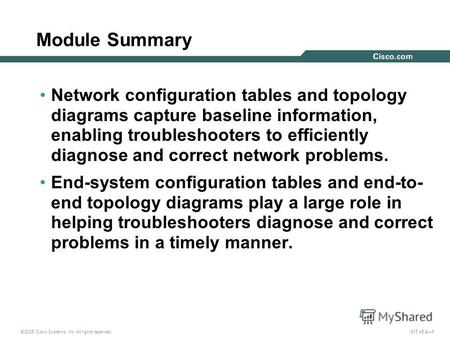 © 2005 Cisco Systems, Inc. All rights reserved. CIT v5.21 Module Summary Network configuration tables and topology diagrams capture baseline information,