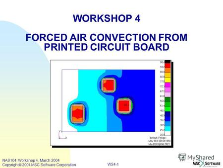 WS4-1 WORKSHOP 4 FORCED AIR CONVECTION FROM PRINTED CIRCUIT BOARD NAS104, Workshop 4, March 2004 Copyright 2004 MSC.Software Corporation.