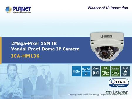 2Mega-Pixel 15M IR Vandal Proof Dome IP Camera ICA-HM136.