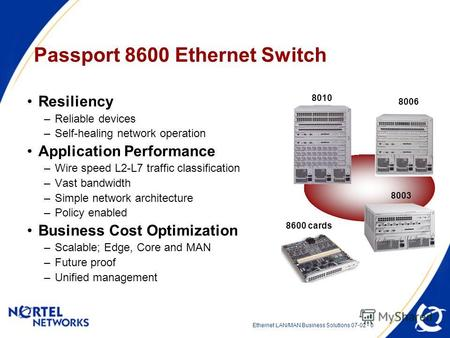 Ethernet LAN/MAN Business Solutions 07-02 - 0 Passport 8600 Ethernet Switch Resiliency –Reliable devices –Self-healing network operation Application Performance.