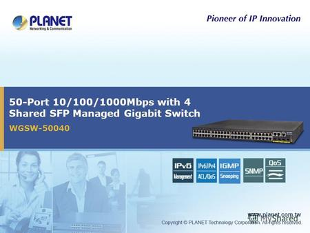 50-Port 10/100/1000Mbps with 4 Shared SFP Managed Gigabit Switch WGSW-50040.