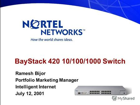 BayStack 420 10/100/1000 Switch Ramesh Bijor Portfolio Marketing Manager Intelligent Internet July 12, 2001.