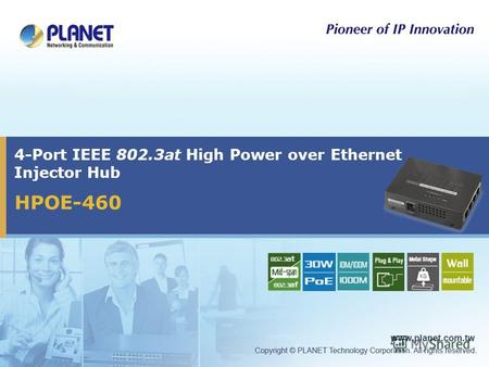 4-Port IEEE 802.3at High Power over Ethernet Injector Hub HPOE-460.