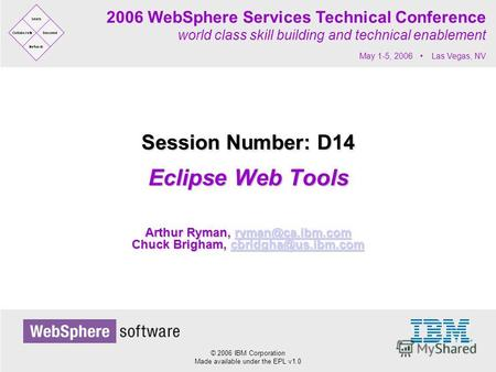 © 2006 IBM Corporation Made available under the EPL v1.0 2006 WebSphere Services Technical Conference world class skill building and technical enablement.