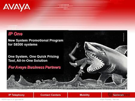 © 2005 Avaya Inc. All rights reserved. Avaya – Proprietary Restricted IP One New System Promotional Program for S8300 systems One System, One Quick Pricing.
