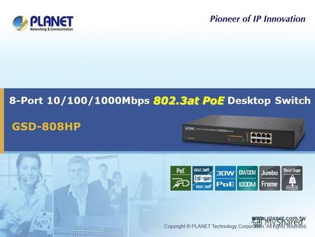 802.3at PoE 8-Port 10/100/1000Mbps 802.3at PoE Desktop Switch GSD-808HP.