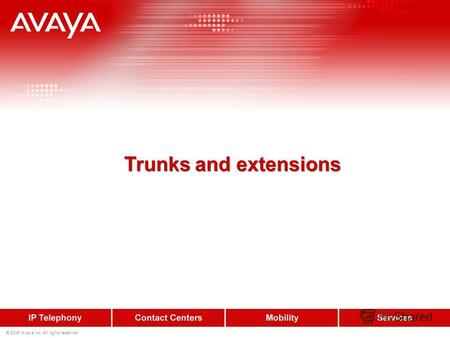 © 2006 Avaya Inc. All rights reserved. Trunks and extensions.