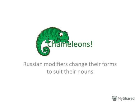Chameleons! Russian modifiers change their forms to suit their nouns.