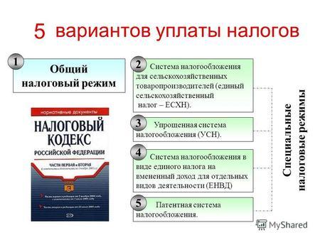 Презентация на тему Анализ эффективности налогообложения  Вариантов уплаты налогов Общий налоговый режим Система налогообложения для сельскохозяйственных товаропроизводителей единый сельскохозяйственный