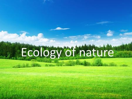 Еcology of nature. Now us, young people, unites the common future with nature. It is impossible to remain indifferent to the ecological problems of the.